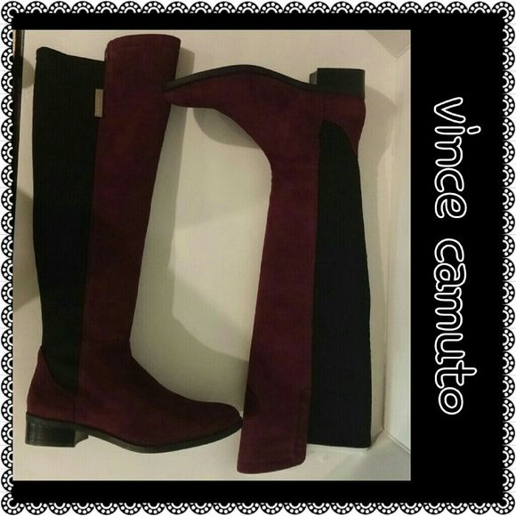Vince Camuto boots NEW**Bordeaux/Black kid Suede/Neoprene knee high boot. These boots fit nicely on someone with smaller calves...so comfortable!!! Size 8.5M, **Never been worn and still with box** Price firm unless bundled!!!  Bundle for a 10% discount on 2 or more items!! Vince Camuto Shoes