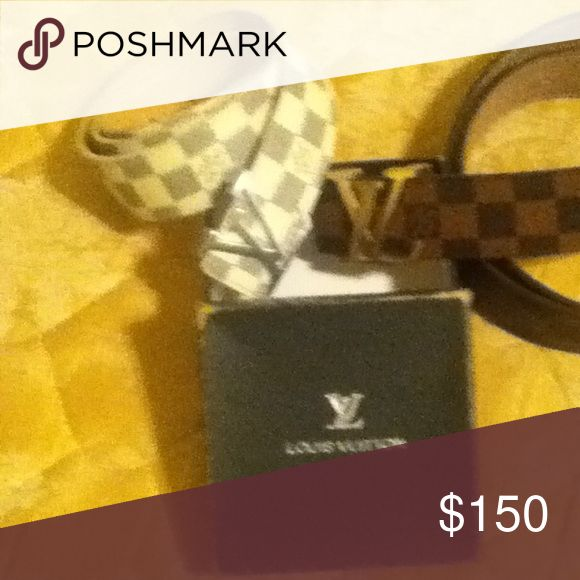 "White and silver Louis Vuitton ""real"" Louis Vuitton belt size 32-42 Louis Vuitton Other"