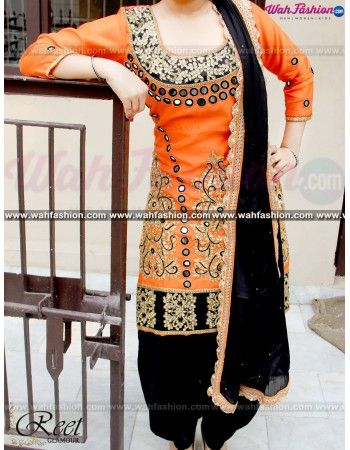 Give yourself a stylish & punjabi look with this Elegant Orange and Black Punjabi Suit . Embellished with embroidery work & lace work. Available with matching bottom & dupatta. It will make you noticable in special gathering. You can design this suit in any color combination or on any fabric for that whatsapp us. For more details whatsapp us on +919915178418