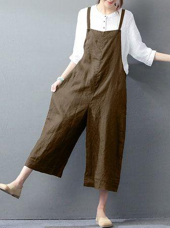 01f46c46378 Women Sleeveless Straps Long Wide Leg Pants Jumpsuit at Banggood ...