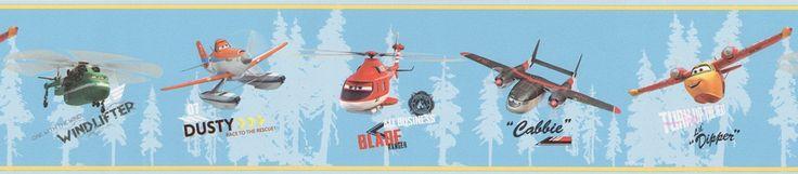 Cenefa PL3507-1 Disney con imágenes de distintos aviones como Dusty, Cabbie...el color de fondo de la cenefa es en azul y los aviones están pintados en diferentes colores.