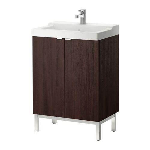 LILLÅNGEN / TÄLLEVIKEN Sink cabinet with 2 doors - black-brown - IKEA