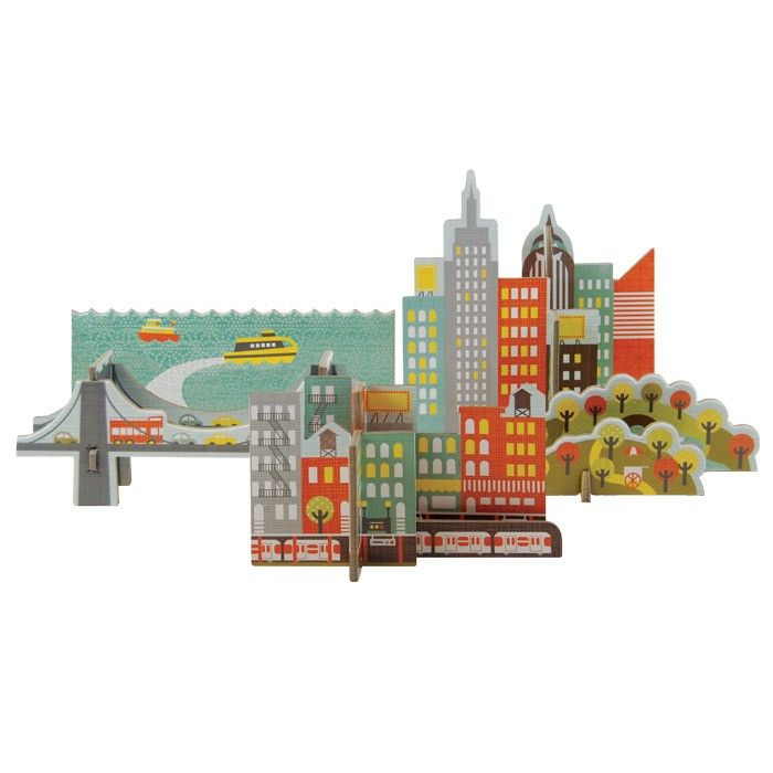 Petit Collage  Pop-out and Play NYC skyline.Collage Pop Out, New York Cities, Plays Nyc, Cities Pop Out, Plays Petite, New York City, Cities Popout, York Baby, Small Collage