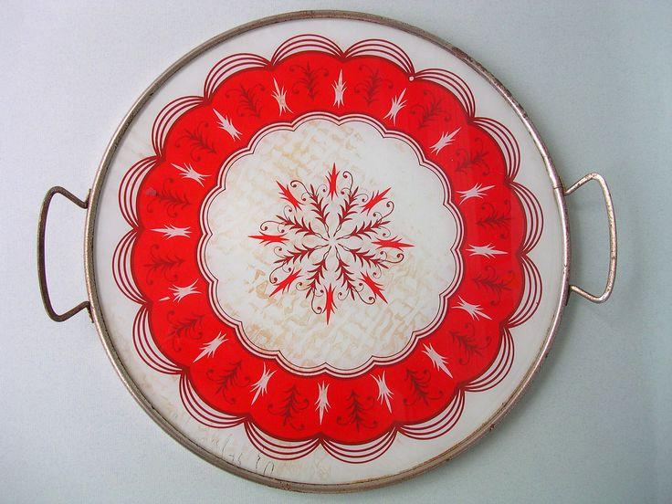 Wonderful Red Vintage Glass Tray