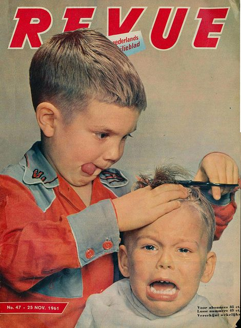 """""""Now Sit Still, This will only take a Second"""". Revue Magazine, November, 1961. Funny Vintage Magazine & Advertising. Haircut."""