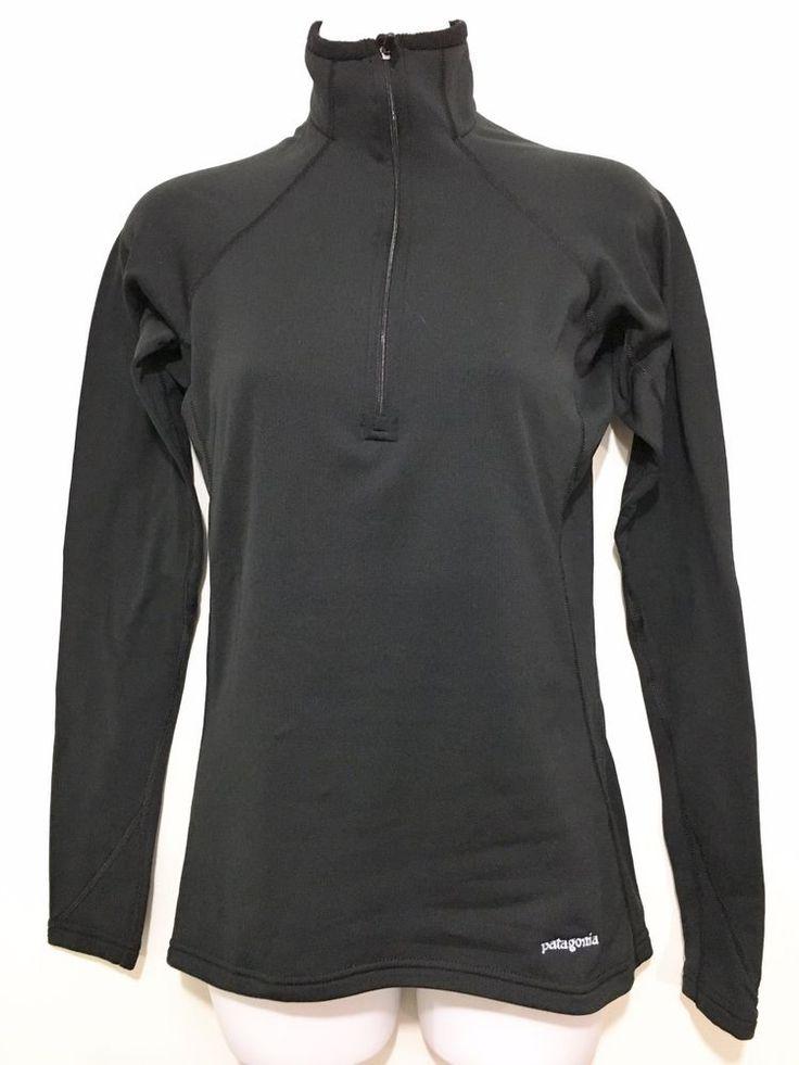 Patagonia Capilene Womens S Black 1/2 Zip Long-Sleeve Pullover Base Layer #Patagonia #BaseLayers