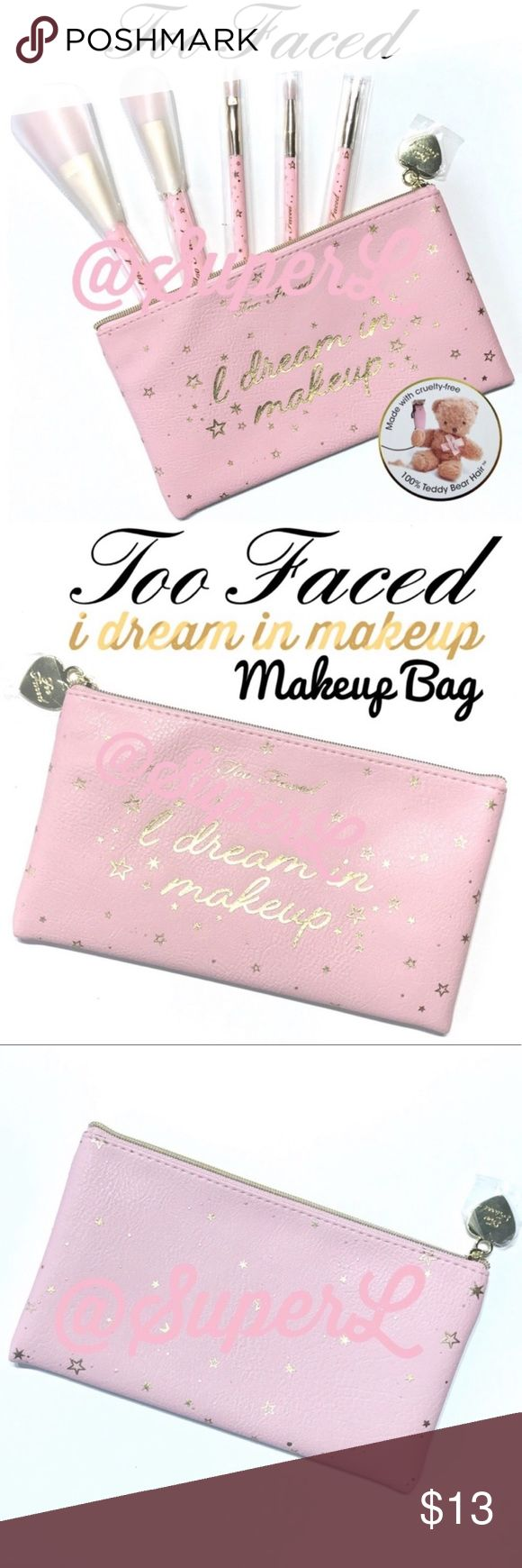 2/15 Too Faced I dream in makeup Bag Pouch Pink Makeup