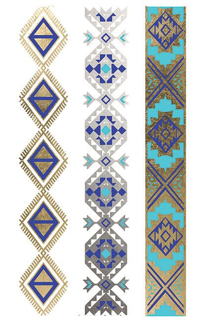Gold and Turquoise Tribal bands, bracelets, foil tattoos, temporary tattoo, jewelry tattoo Golden Feather Tattoos
