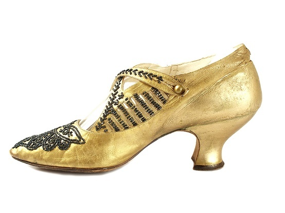 1910-1915 Beaded Gold Shoes with criss-cross buttoned straps by Wichert & Co., USA. @~ Watsonette.