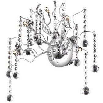 """2075 Astro Collection Wall Sconce L18in H13"""" E5"""" Lt: 5 Chrome Finish (Royal Cut Crystals)"""