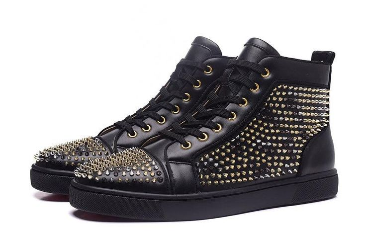 Ya - Men New Designer Shoes -  High Top Shoes Metal Rivets Lace-up
