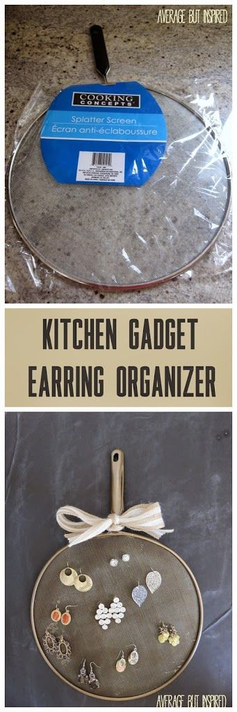Convert a dollar store kitchen splatter screen to an earring organizer.  #organizing