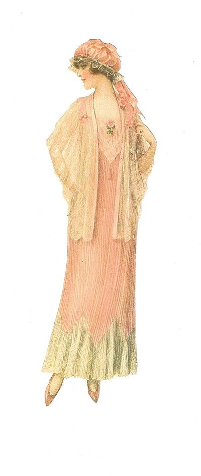 vintage lady fashion. Woman in light pink gown with white lace and matching hat