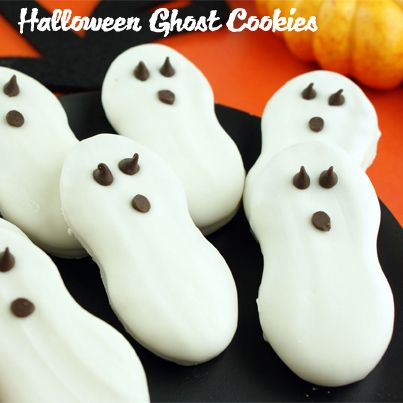Halloween Ghost Cookies: (only 3 ingredients) 1) 12 oz White Chocolate Morsels 2) 1 package Nutter Butter Cookies 3) 4 tsp Miniature Chocolate Chips. -- In small saucepan, melt white chocolate over low heat, stirring until smooth. Line cookie sheets w/waxed paper. Hold cookie w/ tongs, dip entire top and side into melted coating, let excess drip off. Lay flat, coated side up, on lined cookie sheets. Place 2 chocolate chips in coating to form eyes. Let stand about 10 minutes until set.