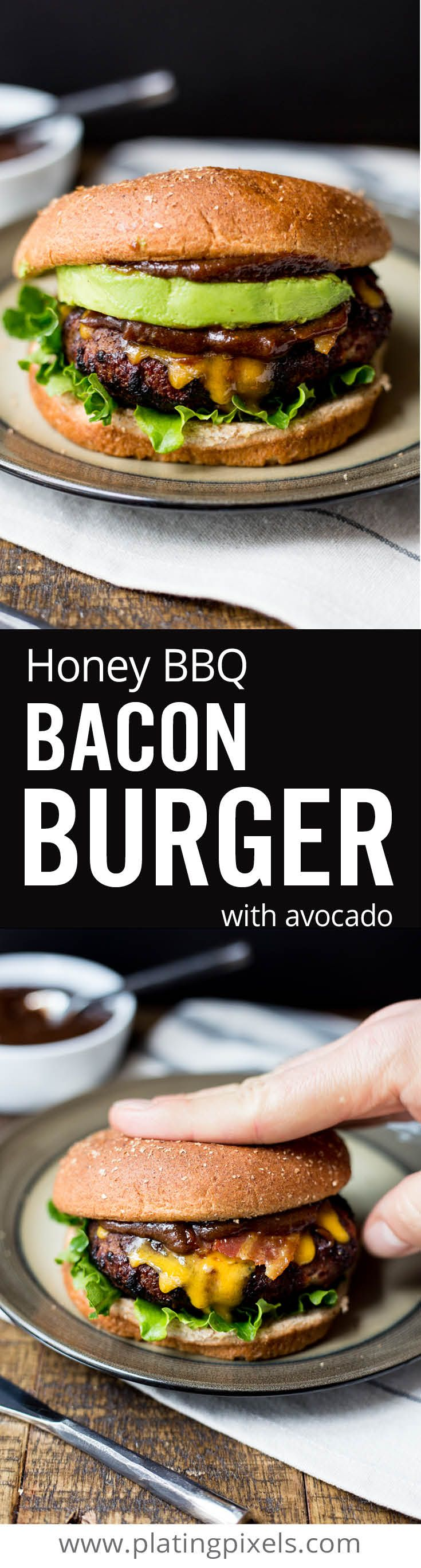 The ultimate homemade grilled honey bbq bacon burger recipe. Easy juicy burger with @KCMBBQ bbq sauce, bacon, cheddar and avocado you can cook at home on the barbecue. With gluten free option #ad #KCMasterpiece www.platingpixels.com