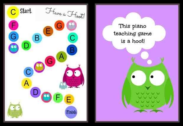 Have a Hoot with this game! It's simple, it's fun and it will help piano students get comfortable moving their hands anywhere on the piano.  And it's a FREE printable! #pianoteaching