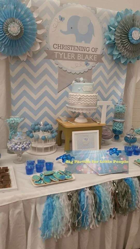 Blue and gray elephant baptism party! See more party ideas at CatchMyParty.com!