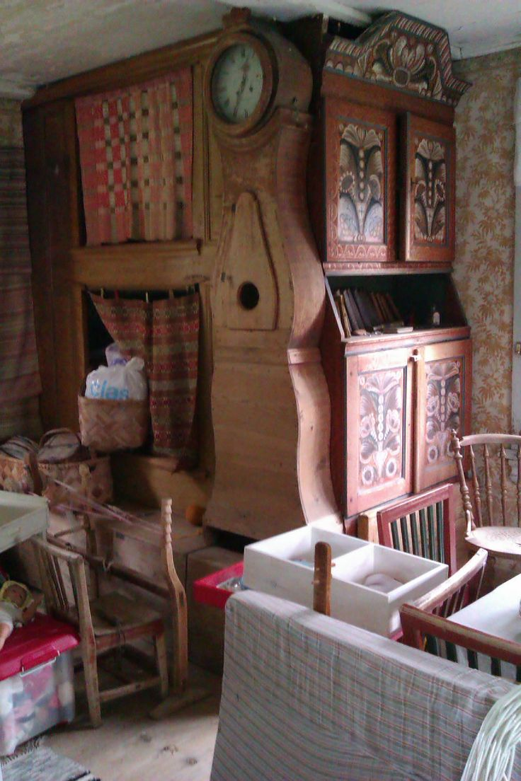 Traditional beds in the kitchen of an old swedish farm house. Everybody would live in the kitchen, the master bedroom was only used for weddings and funerals.