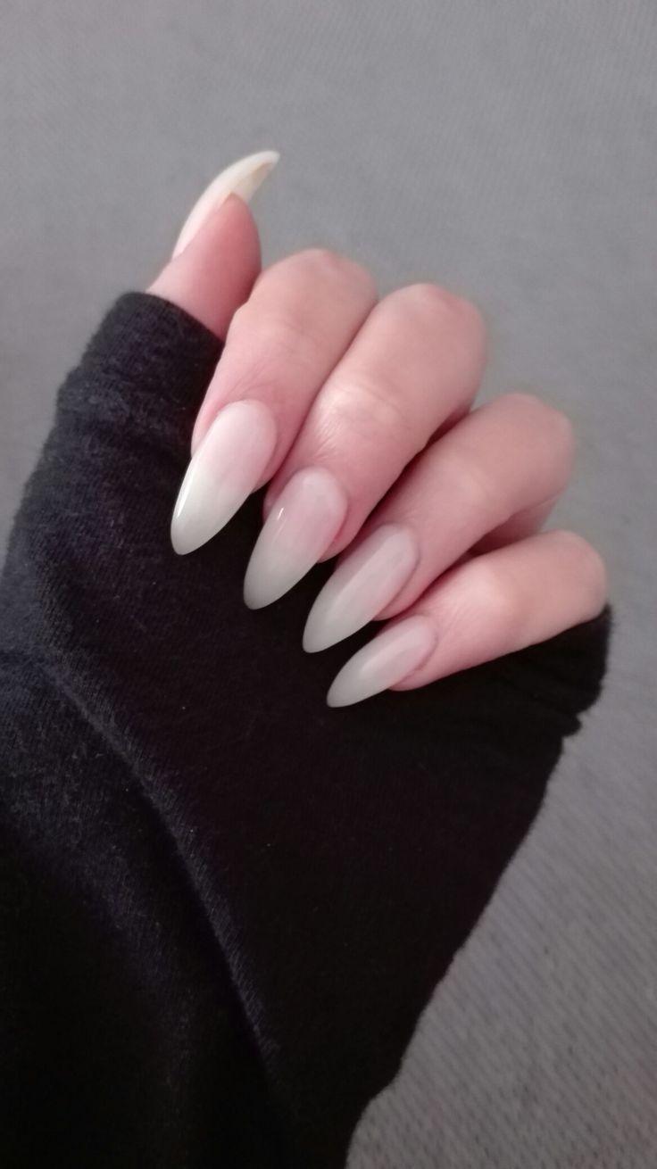 Short natural stiletto nails