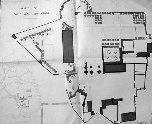 Abbaye Saint-Jean-des-Vignes, plan paysagiste