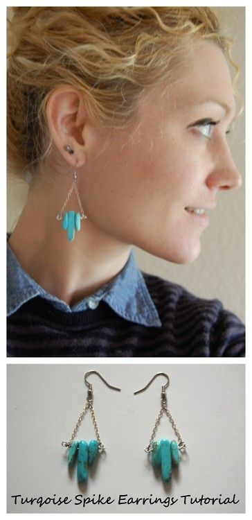 DIY Turquoise Spike and Chain Drop Earrings Tutorial. Skill level: beginner. Really detailed tutorial from Transient Expression here.