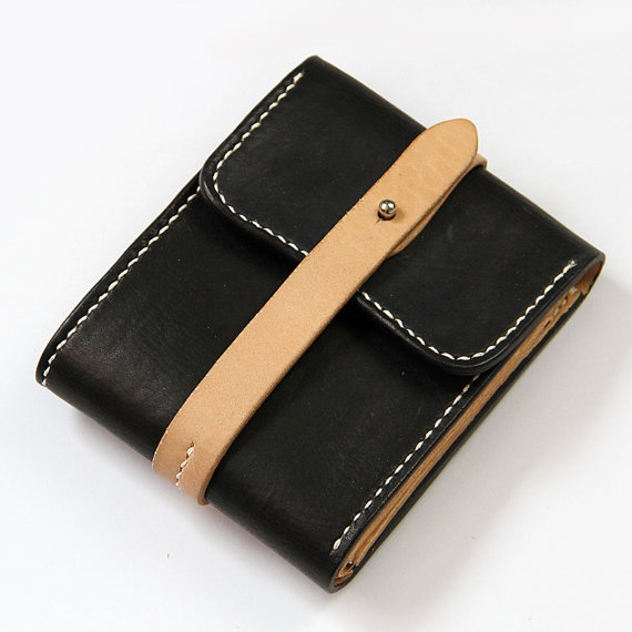 100 Handstitched Vegetable Tanned Leather Wallet Case by AnneSoye