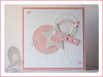 Stampin' Up! rosa Mädchen Babykarte mit Fox and Friends, Fürs Etikett, Herzbordüre, Stern, Designerpapier und Prägeform leise rieselt