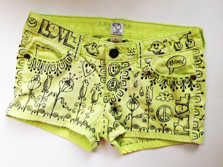 """squeeze"" neon yellow shorts by artfink. www.etsy.com/shop/artfink"