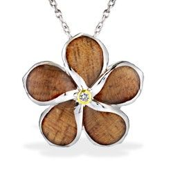 Yellow Gold and Sterling Silver Plumeria Pendant with Koa Wood Inlay* and Diamond (Chain Included) - New From Na Hoku - Collections