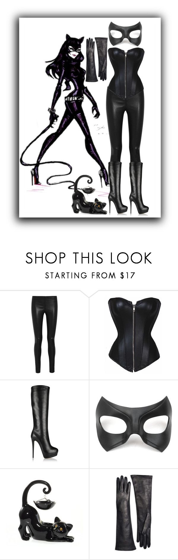 """Halloween Costume Cat Woman"" by tbadger09 ❤ liked on Polyvore featuring Joseph, Giuseppe Zanotti, Masquerade and Brooks Brothers"