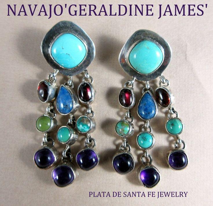 Navajo~GERALDINE JAMES~Turquoise~Semi Precious~Contemporary~925 Earrings
