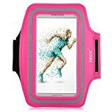 iXCC Trek Series Easy Fitting Sport Gym Running Sweatproof Armband with Dual Arm-Size Slots for Samsung Galaxy S5, iPod MP3 Player - Pink