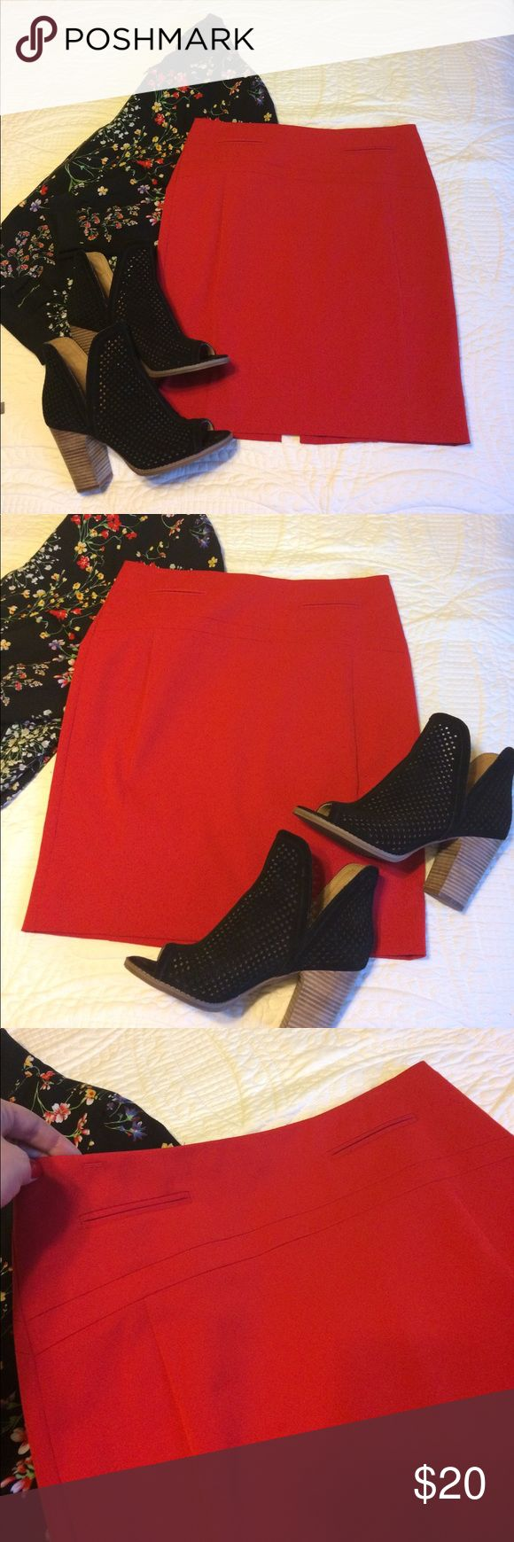 Red pencil skirt Beautiful cherry red pencil skirt. Wore one time for college graduation. So classy and cute! Express Skirts Pencil
