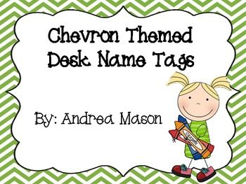 These chevron desk name plates will brighten up your students' work area!  Each full sheet contains 2 name plates with fun chevron borders.  The colors included are red, orange, yellow, green, blue, purple, gray, and pink.  Each name plate has a blank handwriting line for you to write each student's name.