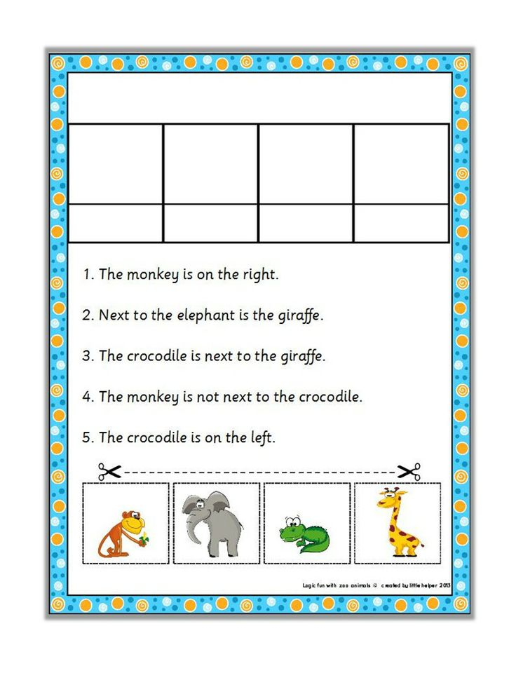 Logic puzzles - animals at the zoo. Great for improving reading accuracy and higher order thinking skills.