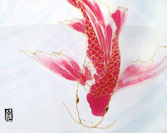 Bufanda de Koi de verano abrigo chal, chal de Novia de seda, seda nupcial mantón, mantón de seda pintados a mano, serenidad rojo, Takuyo, hecho para ordenar, 22 x 90 pulgadas
