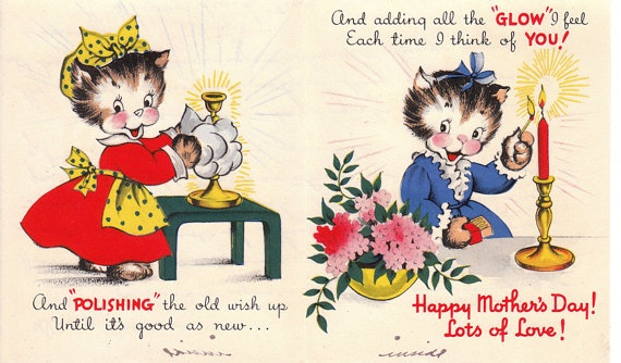 Vintage 1940s Happy Mothers Day Greetings Card by poshtottydesignz, $3.65