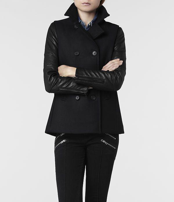 Womens Zaskia Pea Coat (Ink) | ALLSAINTS.com