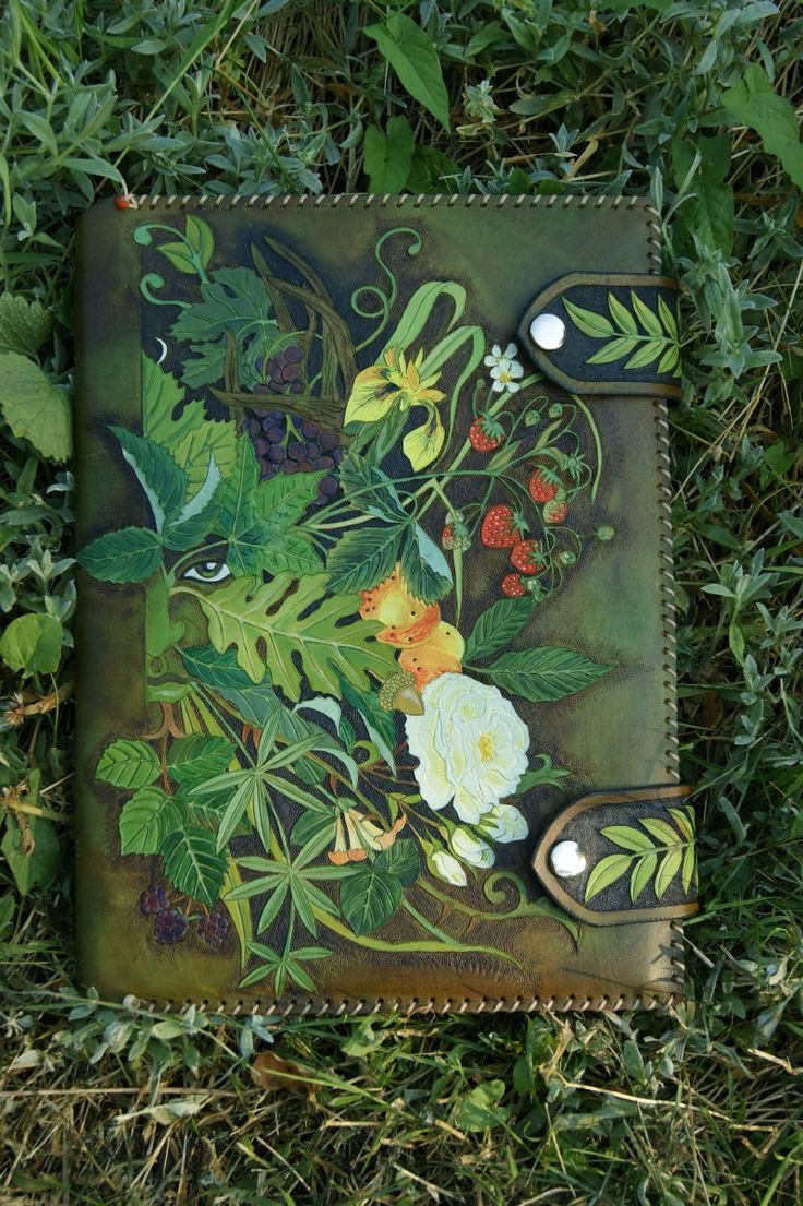 Summer Green Man / Winter Green Man journal with fruit, flowers, berries and leaves