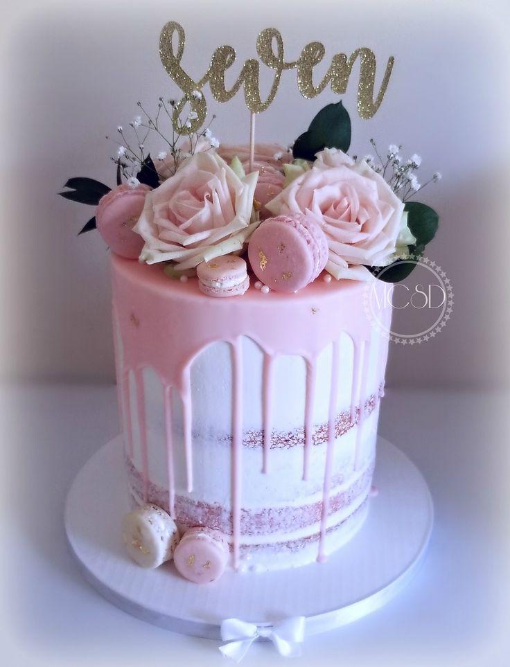 Pastel Pink Drip Birthday Cake Gold Macarons Fresheoses