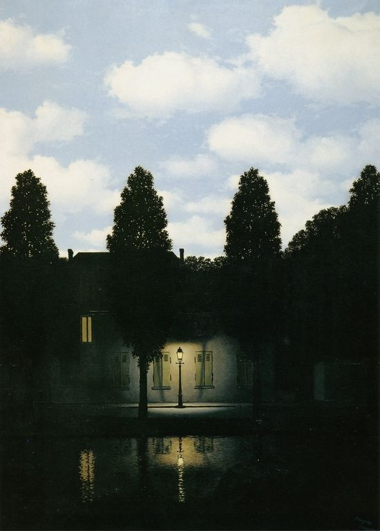 Rene Magritte - Dominion of Light, 1954. Reversing normal physical properties