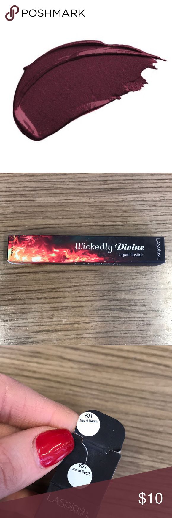 LA Splash Kiss of Death Liquid Silk Lipstick Never used (just opened to take these pictures) LA Splash wickedly divine Kiss of Desty liquid silk lipstick. Water resistance up to 4 hours. Cruelty free, paraben Free, ultra matte. Longwear. Lightweight. LA splash Makeup Lipstick