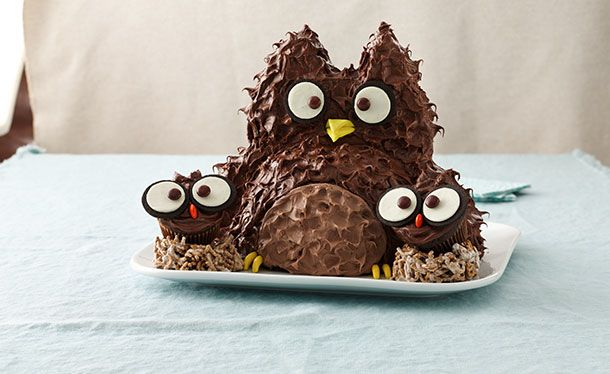 Owl Cake with Baby Owl Cupcakes