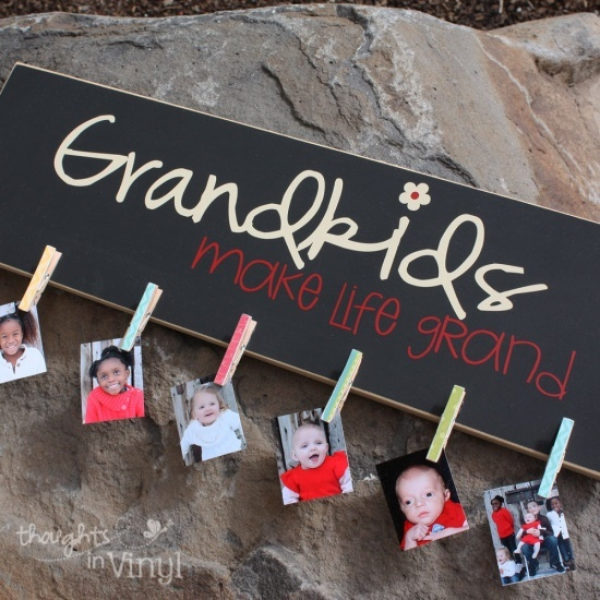 For Mamaw's Birthday in March!  Grandkids Picture Board - Grandparents Day. This would be good for my dad that lives the RV life. He can keep all 10 grands with him without cluttering up his space. @ Shannon Leisure