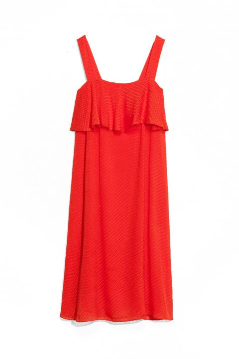 An airy fire-engine-red dress to break out on date nights and at rooftop bars this summer.The only accessories you need are a cocktail and a bold lip. Sheer Silk Dress, $125; stories.com.