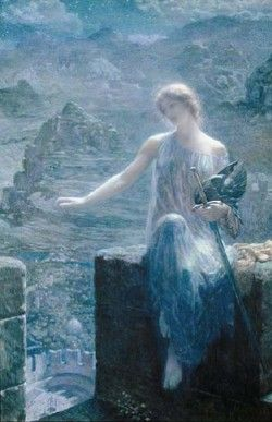 """The Valkyrie's Vigil by Edward Robert Hughes, before 1915 """"…Hughes depicts the dreadful Norse war goddess in an ethereal fairy painting: barefoot, clad in a sheer off-the-shoulder gown, and softly lit from above. Her martial aspects are de-emphasized: she tucks her helmet into the crook of her arm and holds her sword by the ricasso (the blunt section just beyond the crossguard). """""""