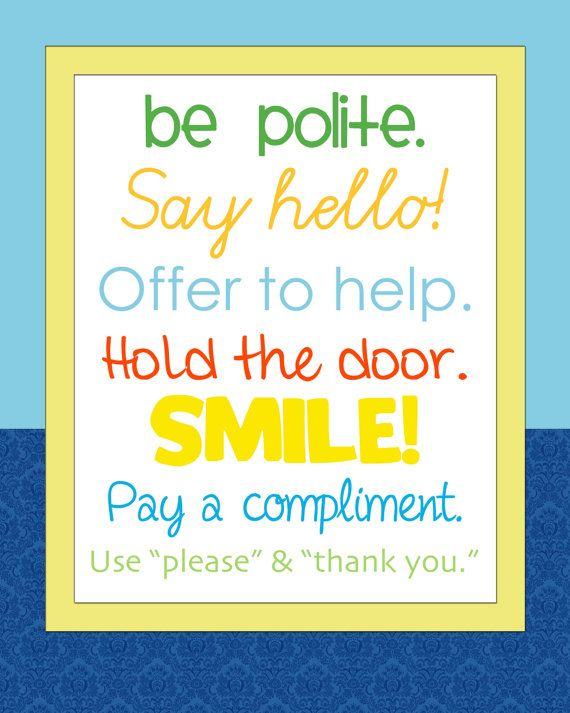 manners kids wall print for boys room