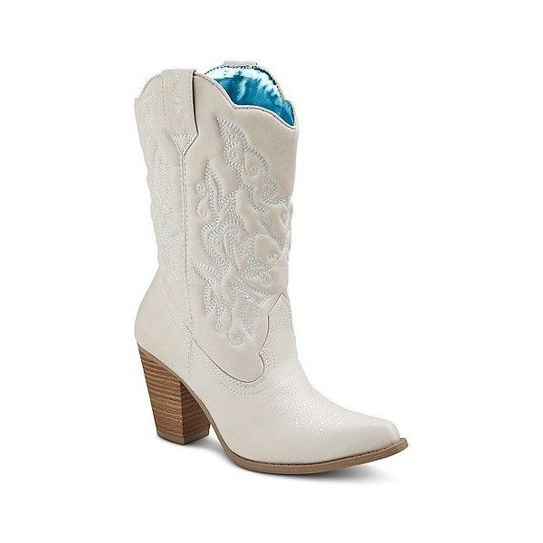 Women's Tevolio Roper Cowboy Boots ($37) ❤ liked on Polyvore featuring shoes, boots, ivory, plus size, western boots, cowgirl boots, white winter boots, ivory cowgirl boots and ivory cowboy boots