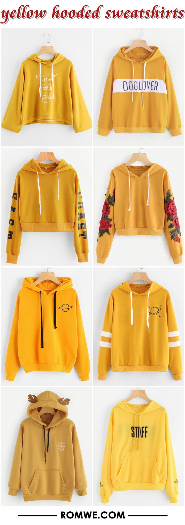 yellow hooded sweatshirts from romwe.com