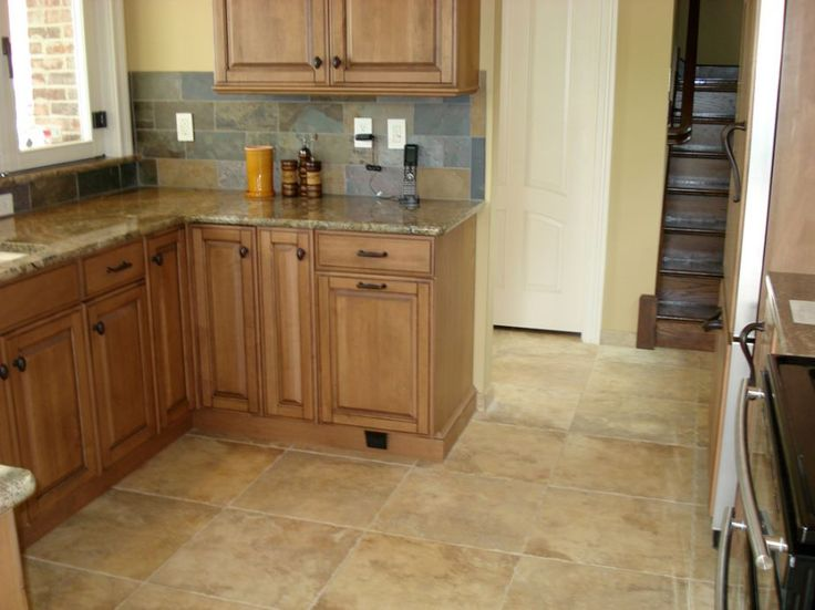 Porcelain Kitchen Tile Floor With Slate Backsplash And Natural Maple Kitchen Cabinet Life The Dark Cabinet